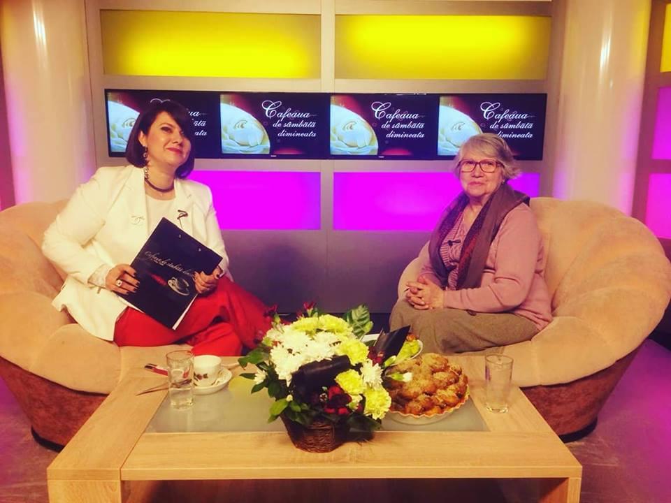 Doamna Mioara Mîrșan alături de Alina Trană la emisiunea Cafeau de sâmbătă dimineața